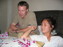 Matthew and Bonnie play Mah Jong